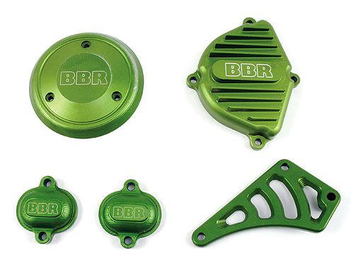 Engine Cover Set -Billet, Green / KLX/DRZ110, 02-09