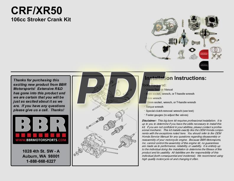 BBR Motorsports, Inc - Instructions