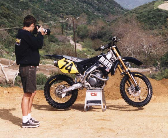 Tim Olson (MXA) shooting the BBR YZ400